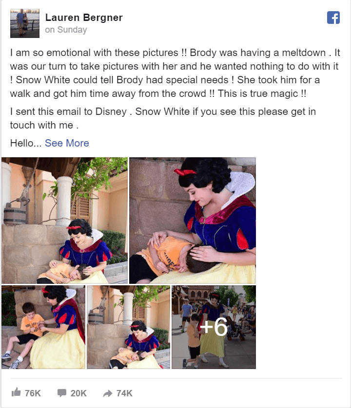 Disney World's Snow White Soothes an Autistic Boy - Finding